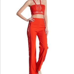 🆕 FREE PEOPLE crochet bandeau + pants red set